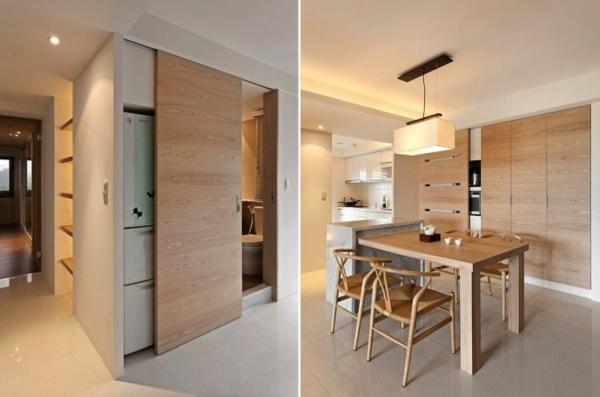 interior-design-ideen-retro-holztüren-schiebetüren-in-der-küche