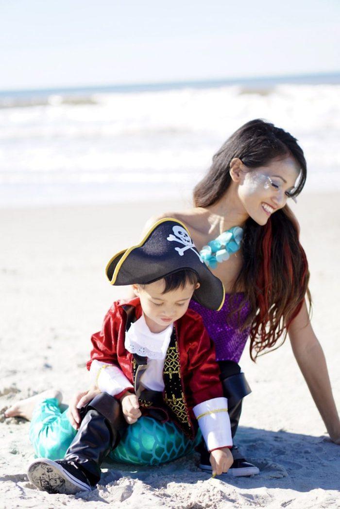 Halloween Kostüme für Mama und Kind, Piratenkostüm und Meerjungfrau Kostüm