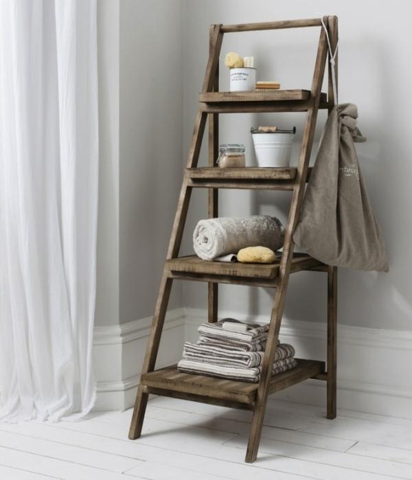 Handtuchhalter aus holz tolle modelle f rs badezimmer for Echelle salle de bain