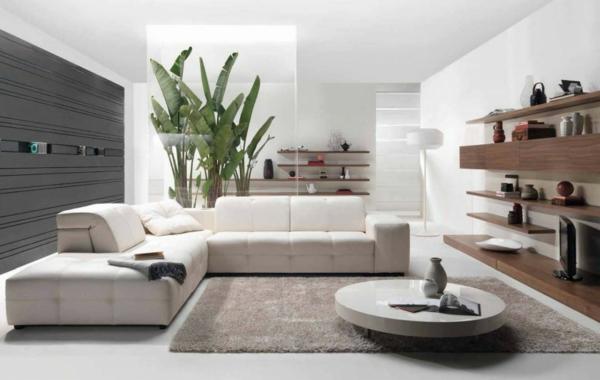Runder Tisch im elegantes weißen wohnzimmer