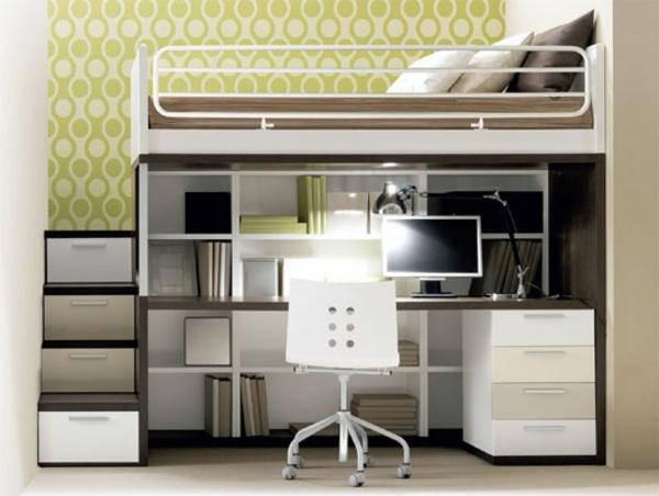 hochbett mitschreibtisch - modell in weißer und taupe farbe