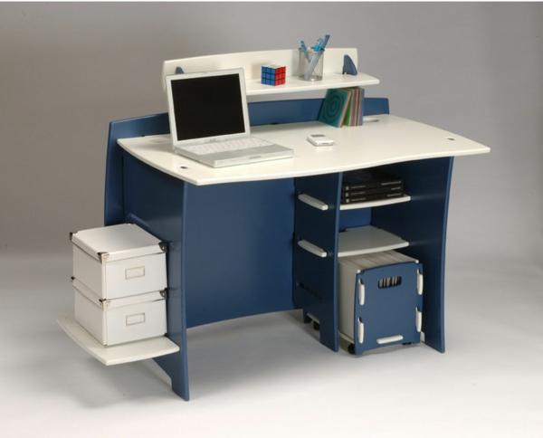 designer schreibtisch - kleines praktisches modell in weiß und blau