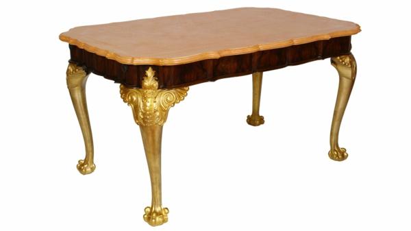 barocktisch - interessante form und goldene beine