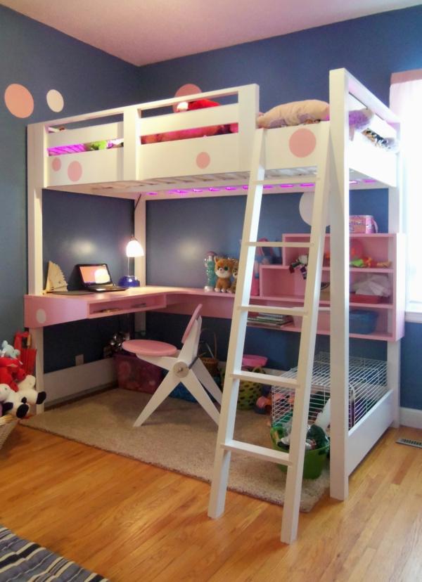 hochbett mitschreibtisch - kinderzimmer mit dunkel blauen wänden