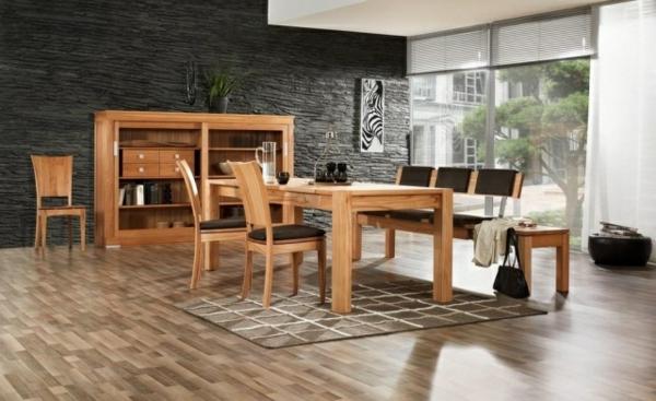 meubles-salle-manger-bois-mur-enduit-relief-noir