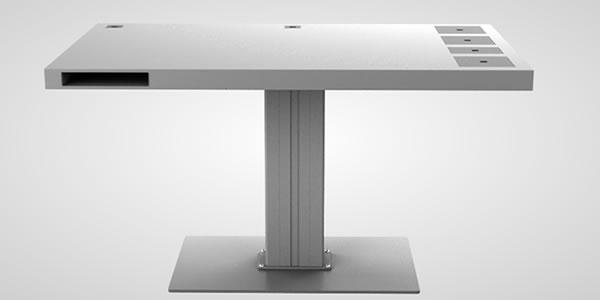 designerschreibtisch - quadratischer weißer tisch