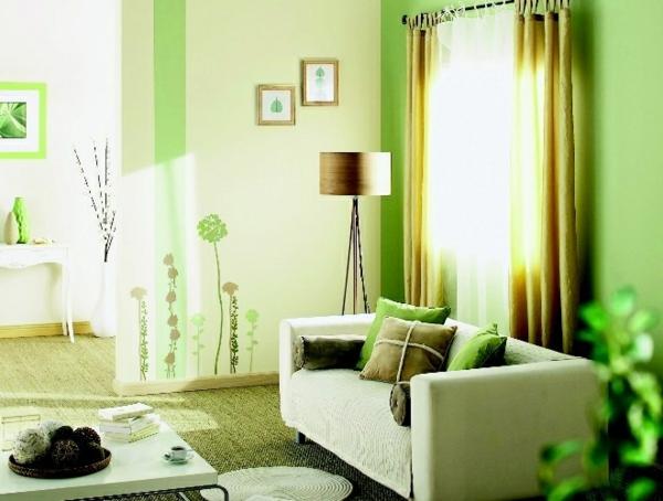 Cheap Natrliche Dekoration Einmaliges Wohnzimmer Mit Grnen Wnden With Grne  Deko Wohnzimmer