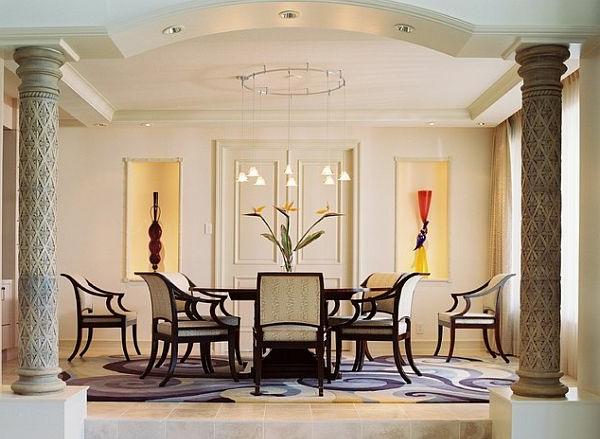 art deco stil - esszimmer mit zwei eleganten säulen