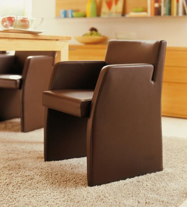 einfach coole braune lederstühle für esszimmer