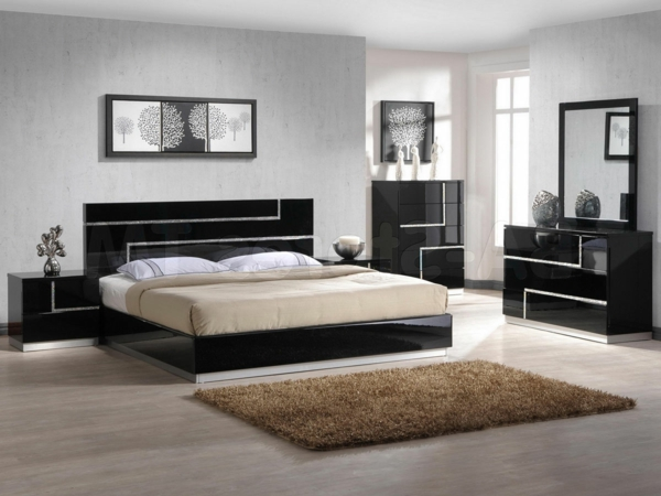 schlafzimmer einrichten mit schwarzem bett. Black Bedroom Furniture Sets. Home Design Ideas