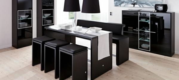 modernes-schwarzes-esszimmer-möbelset-esszimmerstühle-esszimmertisch-design-ideen