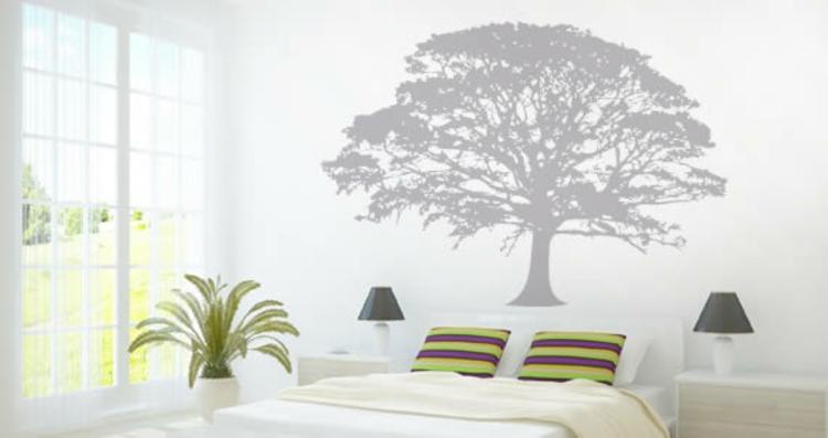 wand-baum-dekoration-grau-schick-edel-schlafzimmer-mit-laub-tropisch