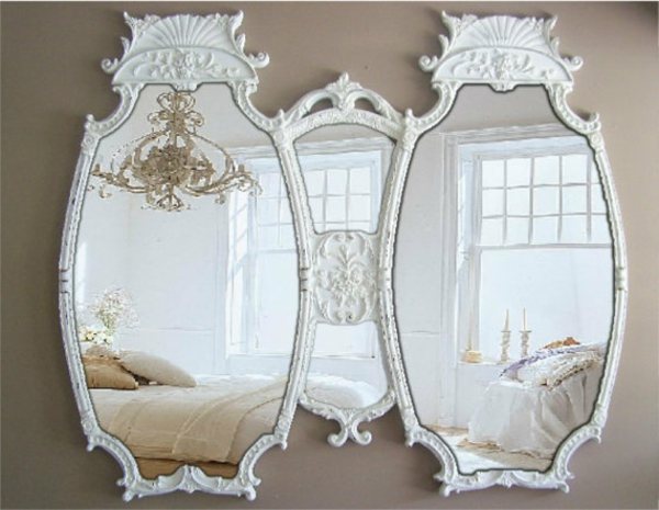 barockspiegel -  zwei verbundene ovalförmige modelle in weiß