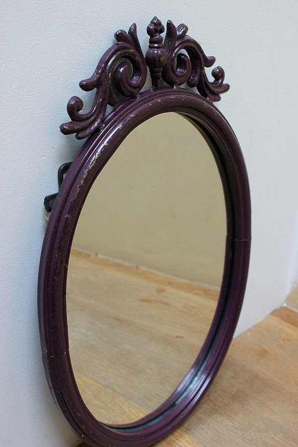 barockspiegel - ovalförmiges modell mit lila rahmen
