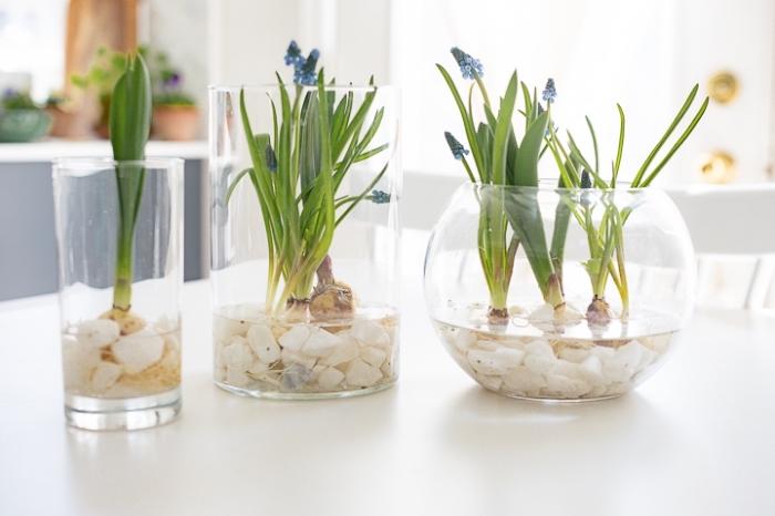 osterdeko in weiß, österliche blumengestecke selber machen, glasvasen dekroiert mit weißen steinen und frischen blumen