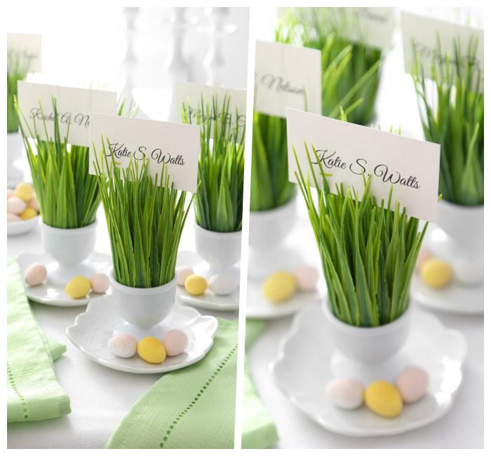 ostersachen selber machen, tischnamen basteln, kleine eier, tisch dekorieren