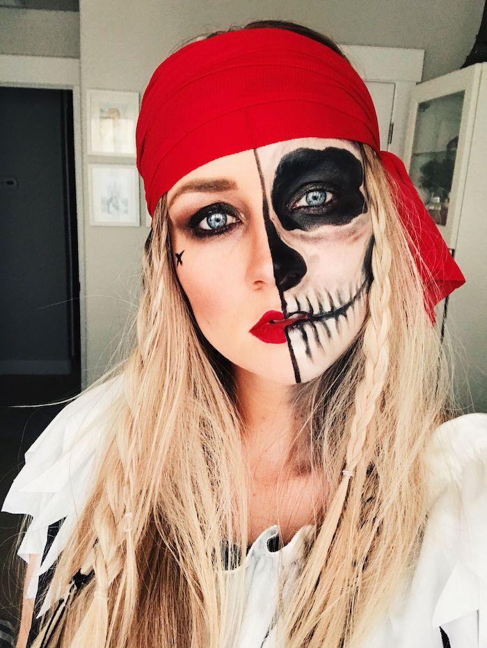 Halloween Make up für Frauen, sich als Pirat schminken, rotes Kopftuch, Zombie Make up