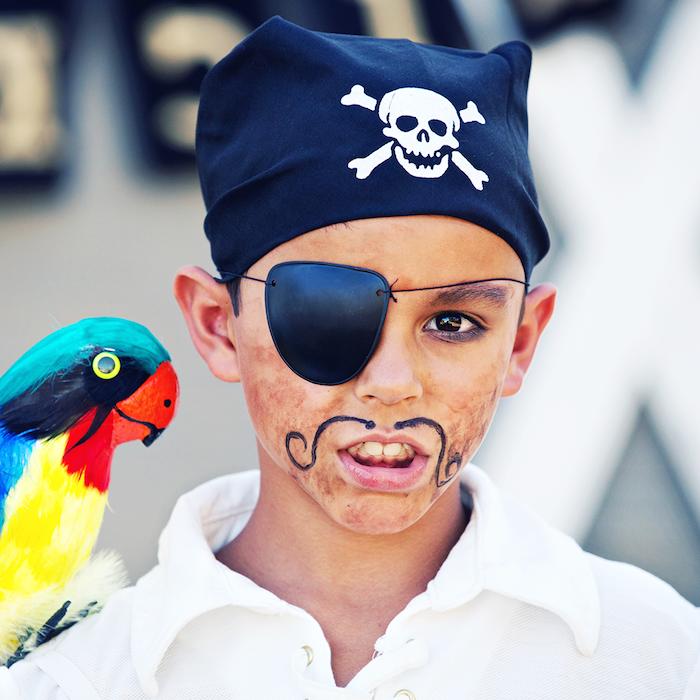 Piraten Make up für Kinder, Schnurrhaare mit schwarzer Farbe malen, Augenklappe und schwarzes Kopftuch mit Totenkopf, Papagei aus Holz