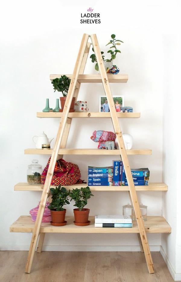 praktisches-interior-design-ideen-leiter-holz-im-wohnzimmer