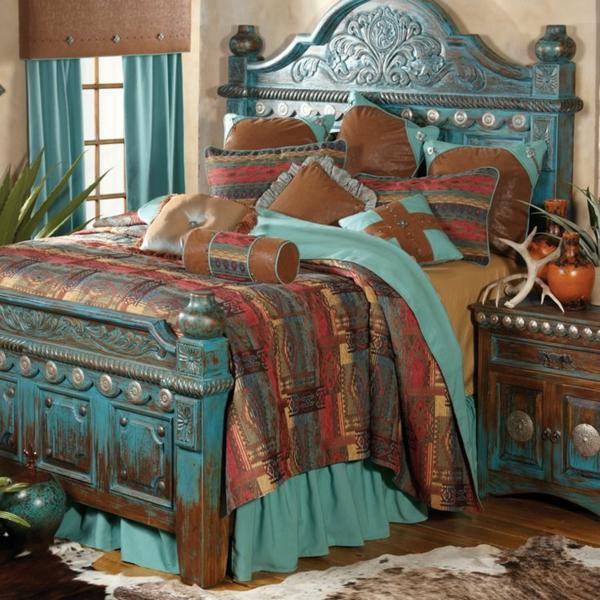 queen-size-bett-blaue-und-braune-farbe-kombinieren
