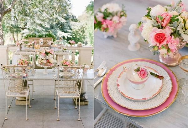 romantische liebe inspiration -  süße rosige deko für tisch