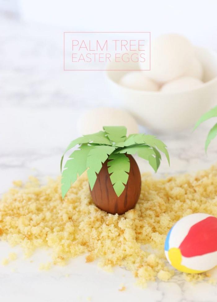 schöne ideen zum selber machen, ostereier dekorieren, tischdeko zum ostern, palme