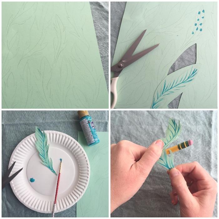 schöne ideen zum selber machen, papierblätter basteln schritt für schritt, diy anleitung
