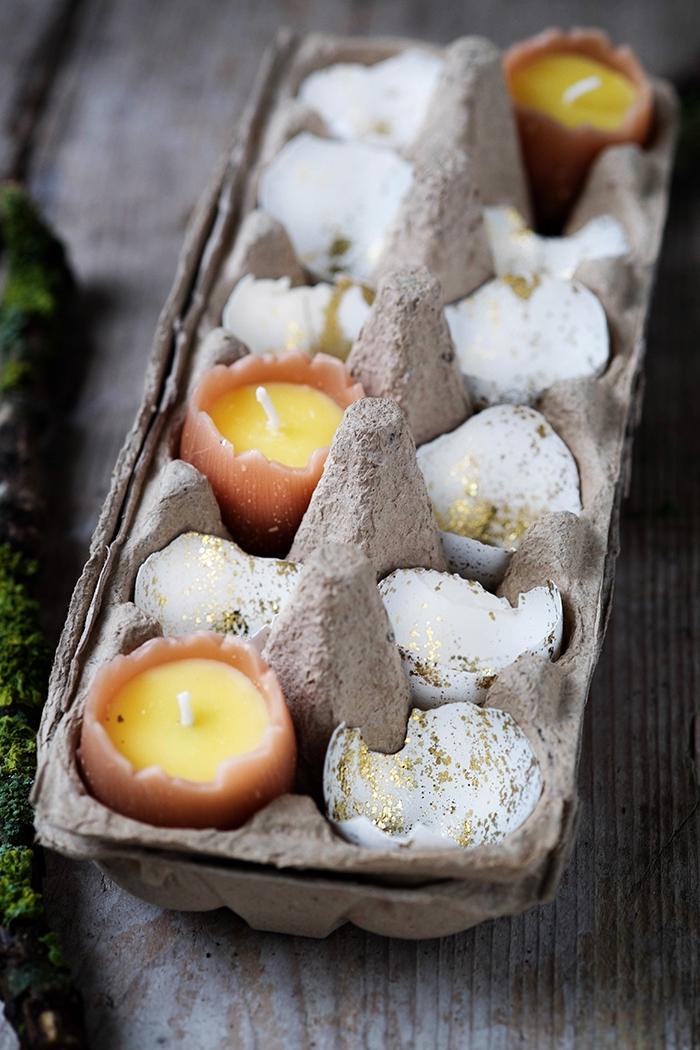 schöne tischdeko zum ostern, deko mit kerzen, teelichter aus eiernschalen, centerpice
