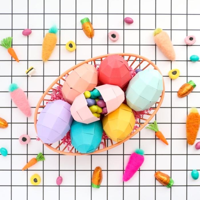 schöne tischdeko zum selber machen, selbstgemachte eier aus papier, papiereier gefüllt mit bonbons