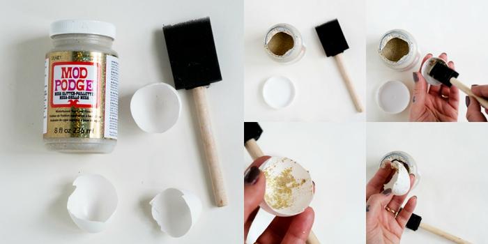 schöne tischdeko zum ostern, teelichter selber machen aus eierschalen, diy bastelanleitung