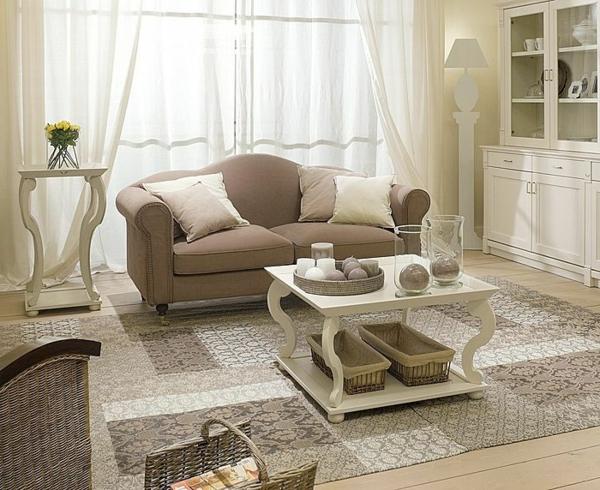 shabbystil - wunderschöner quadratsicher nesttisch im eleganten hellen wohnzimmer