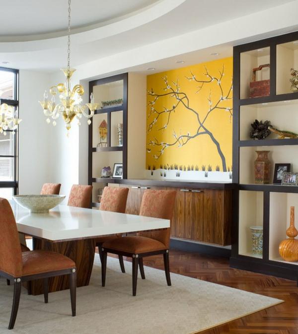Wandtattoo Im Esszimmer   Akzent Wand In Gelber Farbe