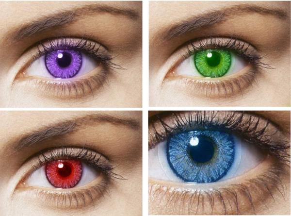 Kontaktlinsen in bunten farben - viele verschiedene nuancen