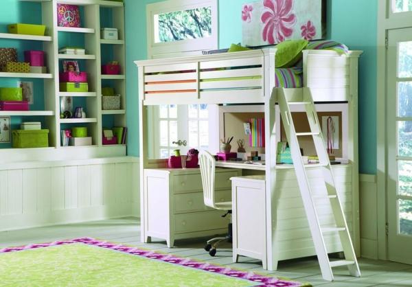hochbett mit schreibtisch - weißes modell im mädchenzimmer