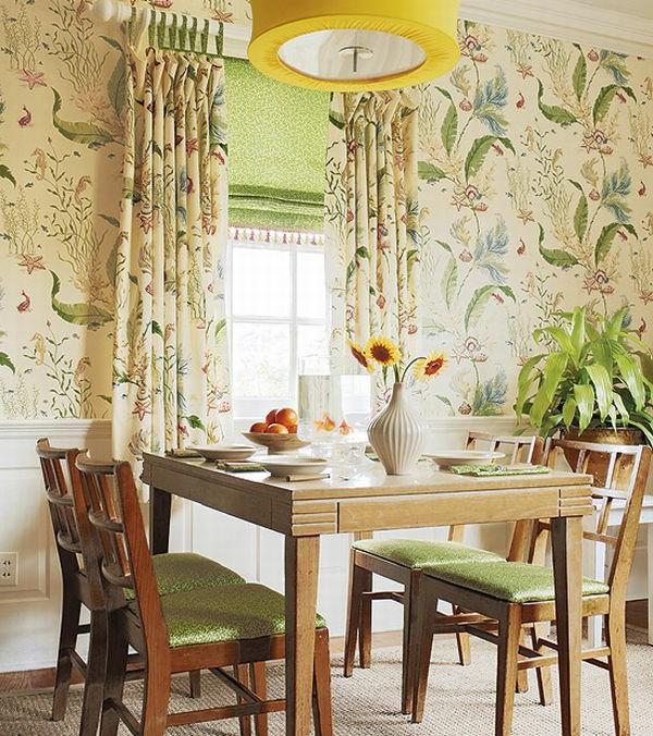 landhaus dekoration - bunte hellfarbige tapete im esszimmer