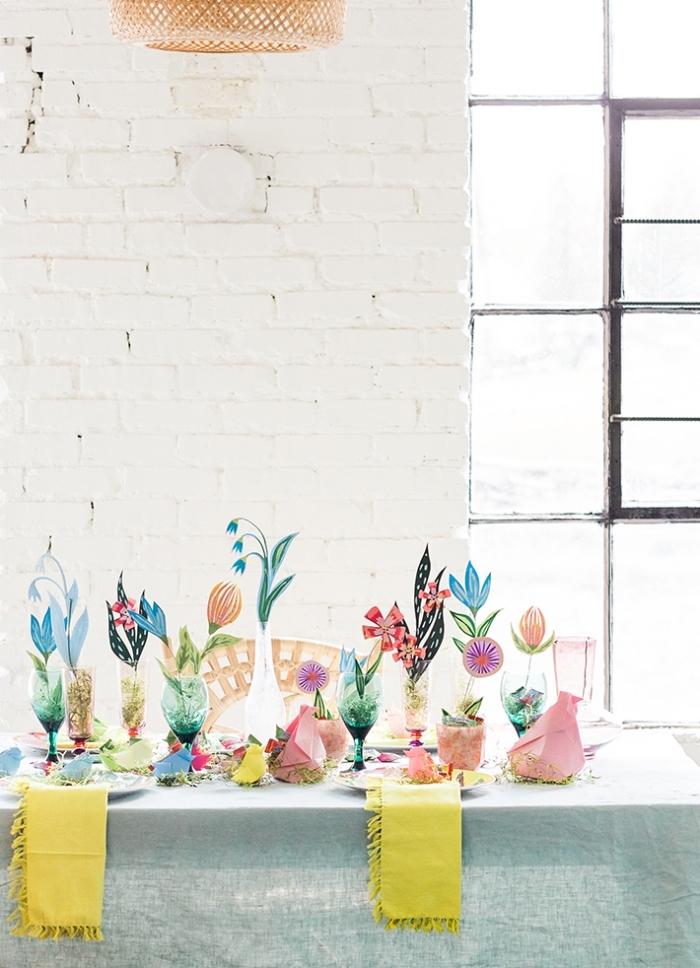 tischdeko frühling, osterdeko mit papierblumen, tisch festlich dekorieren,blumen aus papier