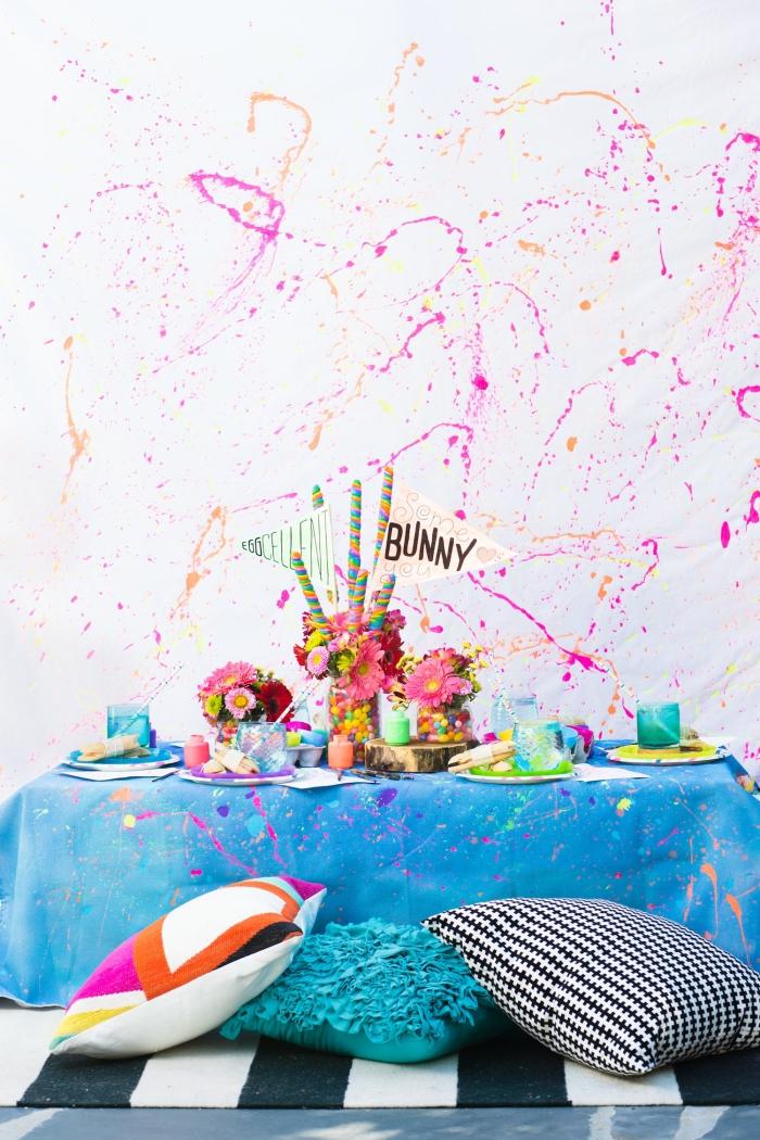 tischdeko frühling, osterdeko in frischen farben, partydeko ideen, centerpiece selber machen