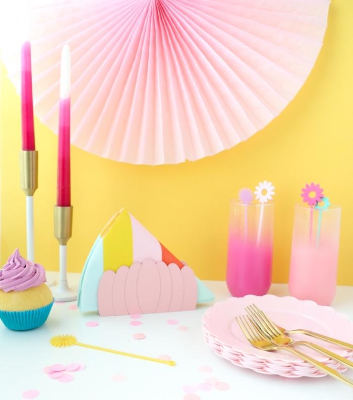 tischdeko frühling, osterdeko selber machen anleitung, partydeko in pastellfarben
