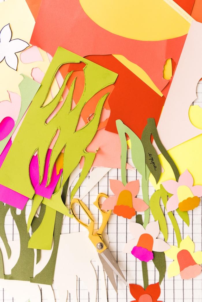 tischdeko frühling, papierblumen basteln anleitung, blumen aus papier selber machen