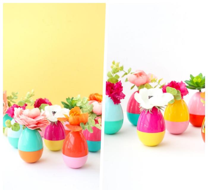 tischdeko zum ostern selbst basteln, tisch dekorieren, diy vasen aus bunten kusnteiern