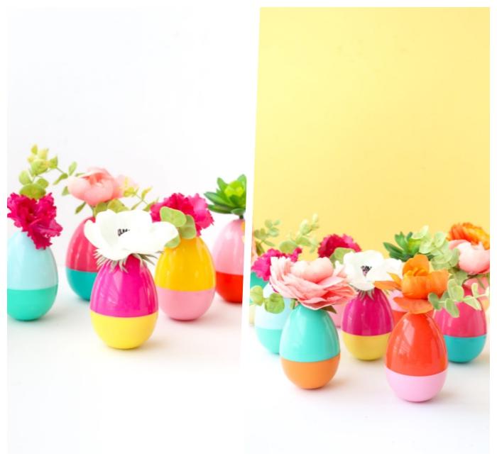 tischdeko zum ostern, vasen aus bunten kunsteiern, frühlingsdeko mit blumen