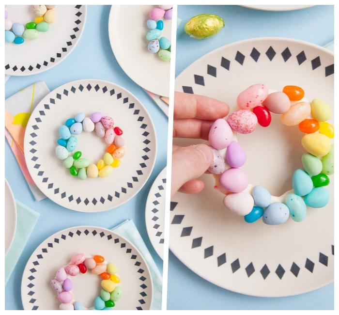 tischdeko zum ostern basteln, tellerdeko ideen, weißer schokolde, eier in den regenbogenfarben