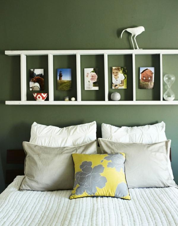 toller-leiter-aus-holz--schöne-interior-design-ideen-wandgestaltung-schlafzimmer