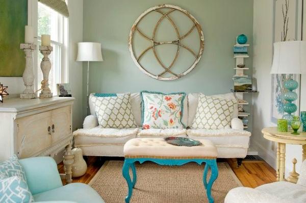 shabby stil - extravagante dekoration für die wand im wohnzimmer