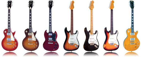 viele-schön-aussehende-vintage-guitars-hintergrund-in-weiß