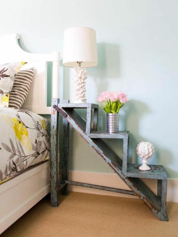 vintage-deko-schlafzimmer-ideen-holzleiter