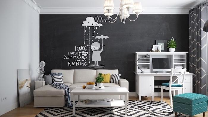 Wohnzimmer in skandinavischer Stil, Tafelwand mit süßer Zeichnung, weiße Möbel und Kronleuchter