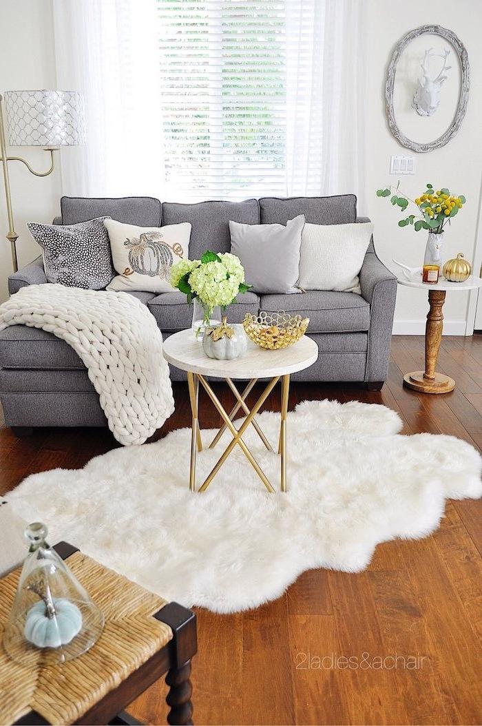 Praktische Einrichtung in Wohnzimmer, graues Sofa, weiße Deko Kissen und gestrickte Decke, Pelz am Boden