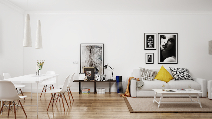 Wohnzimmer in Skandinavischer Stil, minimalistische Einrichtung, Wandfarbe und Möbel in Weiß