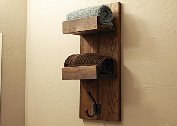 Handtuchhalter aus holz tolle modelle f rs badezimmer - Badezimmer ablage holz ...